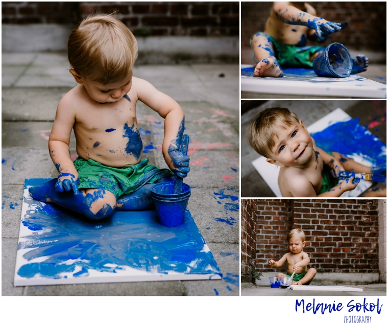 boy painting collage